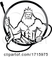 Neptune Holding Power Washer Wand Or Water Blaster Circle Retro Black And White