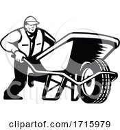 Gardener Pushing Wheelbarrow Low Angle Retro Black And White