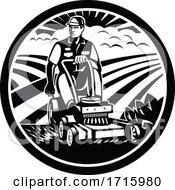 Gardener Landscaper Mowing Ride On Lawn Mower Vintage Retro Black And White
