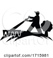 Poster, Art Print Of Gardener Landscaper Working With Rake Silhouette Retro Black And White