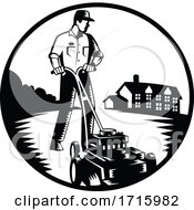 Poster, Art Print Of Gardener Mowing With Lawn Mower Woodcut Retro Black And White