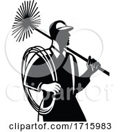 Chimney Sweep Holding Sweeper And Rope Side View Retro Black And White