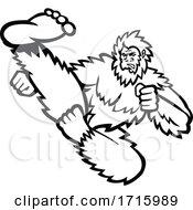 Taekwondo Bigfoot Flying Kick Mascot Black And White