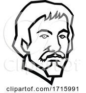 Poster, Art Print Of Head Of Caravaggio Italian Painter Mascot Black And White