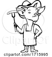 Black And White Billy Goat Barbecue Chef Holding A Sausage