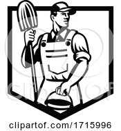 Janitor Cleaner Holding Mop And Bucket Shield Retro Black And White