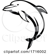 Dolphin Mascot Jumping Side View Black And White Retro