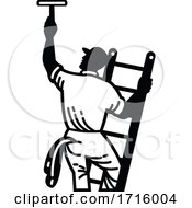 Poster, Art Print Of Window Cleaner On Ladder Cleaning Window Retro Black And White