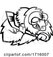 Musk Ox Ice Hockey Player Mascot Black And White