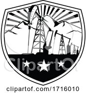 Oil Derrick And Mountains Shield Badge Retro Black And White by patrimonio