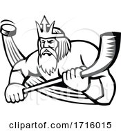 Hockey Sports Mascot Of Poseidon Holding A Stick