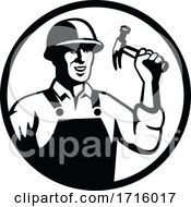 Poster, Art Print Of Carpenter Construction Worker Holding Hammer Circle Black And White