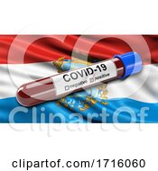 Flag Of Samara Oblast Waving In The Wind With A Positive Covid 19 Blood Test Tube