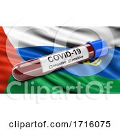 Flag Of Tyumen Oblast Waving In The Wind With A Positive Covid 19 Blood Test Tube