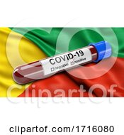 Flag Of Zabaykalsky Krai Waving In The Wind With A Positive Covid 19 Blood Test Tube