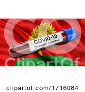 Flag Of Lipetsk Oblast Waving In The Wind With A Positive Covid 19 Blood Test Tube