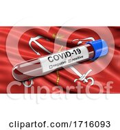 Flag Of Saint Petersburg Waving In The Wind With A Positive Covid 19 Blood Test Tube