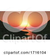 3D Landscape With Grassy Hills Against A Sunset Sky