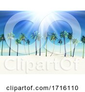 3D Summer Landscape With Palm Trees On Sandy Beach