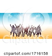 Summer Themed Banner With Party People Dancing