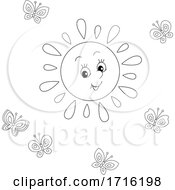 Cheery Sun And Butterflies