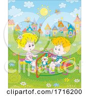 Poster, Art Print Of Children Playing On A Playground Merry Go Round