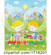 Poster, Art Print Of Kids Playing In A Sand Box