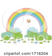 Poster, Art Print Of Butterfly And Rainbow Arch