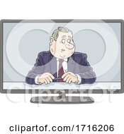 Poster, Art Print Of Business Man Or Politician On Tv