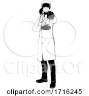 Poster, Art Print Of Woman Doctor Ppe Mask Pointing Needsyou Silhouette