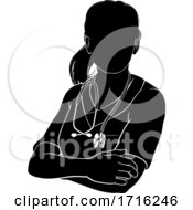 Poster, Art Print Of Doctor Nurse Woman Scrubs Silhouette