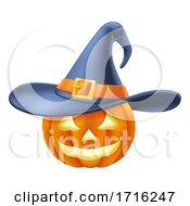 Pumpkin Wearing Witch Hat Halloween Cartoon