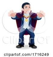 Vampire Count Dracula Halloween Cartoon Character by AtStockIllustration