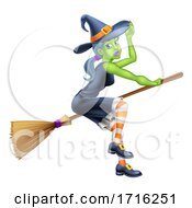 Poster, Art Print Of Witch Halloween Cartoon Character On A Broomstick