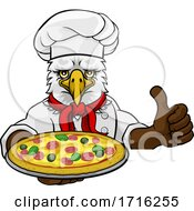 06/10/2020 - Eagle Pizza Chef Cartoon Restaurant Mascot Sign