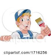 Painter Decorator Paintbrush Handyman Cartoon Man