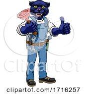 Poster, Art Print Of Panther Plumber Cartoon Mascot Holding Plunger