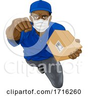 Delivery Superhero Courier Delivering Package Box