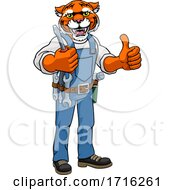 Poster, Art Print Of Tiger Electrician Handyman Holding Screwdriver