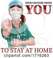 Poster, Art Print Of Doctor Nurse Woman Needs You Stay At Home Pointing