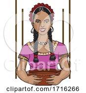 Poster, Art Print Of Mexican Woman Cook Antojito Corazon
