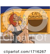 Woman Smoking Outside Cafe Monumental