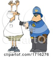 Cartoon Officer Arresting A Man Wearing A Mask