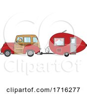 Cartoon Man Driving A Red Woody Car And Pulling A Teardrop Trailer
