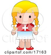 Cute Blond Swiss Girl Wearing A Flag Of Switzerland Shirt Clipart Illustration