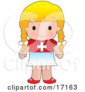 Cute Blond Swiss Girl Wearing A Flag Of Switzerland Shirt