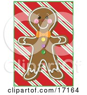 Happy Gingerbread Man Cookie With A Smiling Face Over A Red Striped Background by Maria Bell