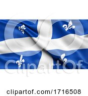 Flag Of Quebec Waving In The Wind