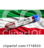 Flag Of North Rhine Westphalia Waving In The Wind With A Positive Covid 19 Blood Test Tube