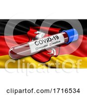 Flag Of Lower Saxony Waving In The Wind With A Positive Covid 19 Blood Test Tube